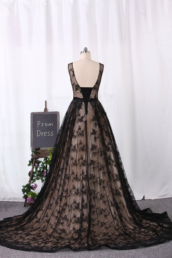 Sweep Train Bateau Prom Dresses Lace A P7SYX6FR
