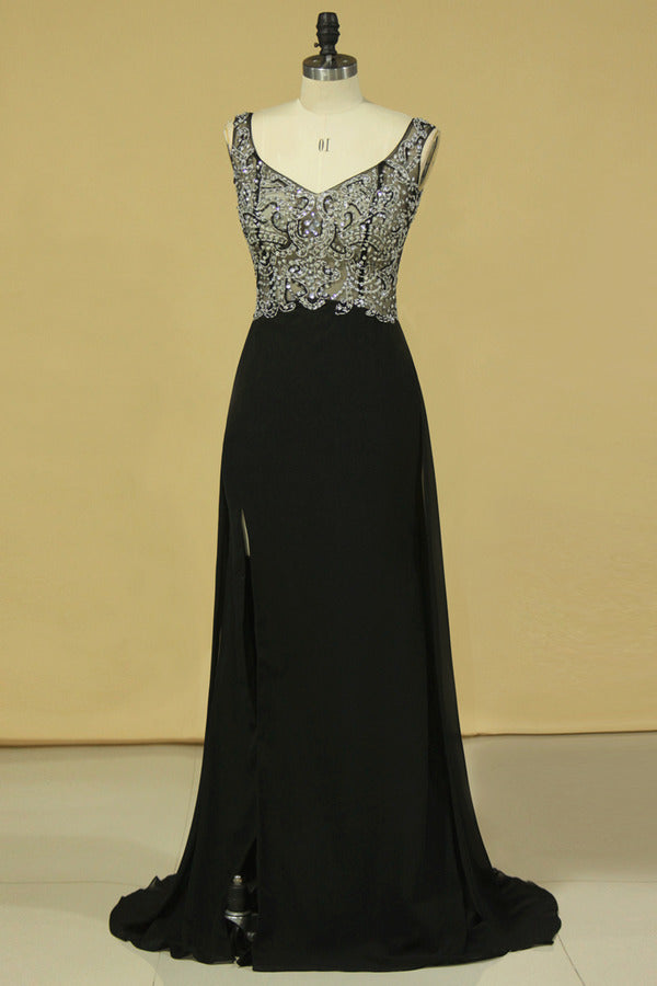Black Prom Dresses Off The Shoulder See-Through Beaded Bodice PMMSK58J