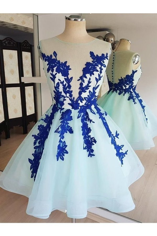 Short Lace Tulle Prom Dresses Short Blue Lace Homecoming P1C2BZZX