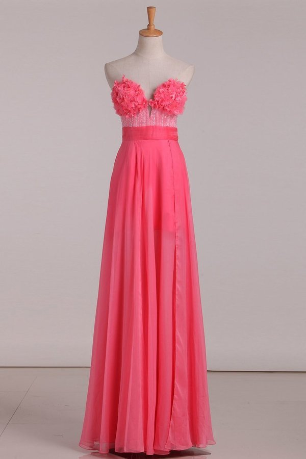 Sweetheart A Line Prom Dresses Chiffon With Beads PKPJ15M8