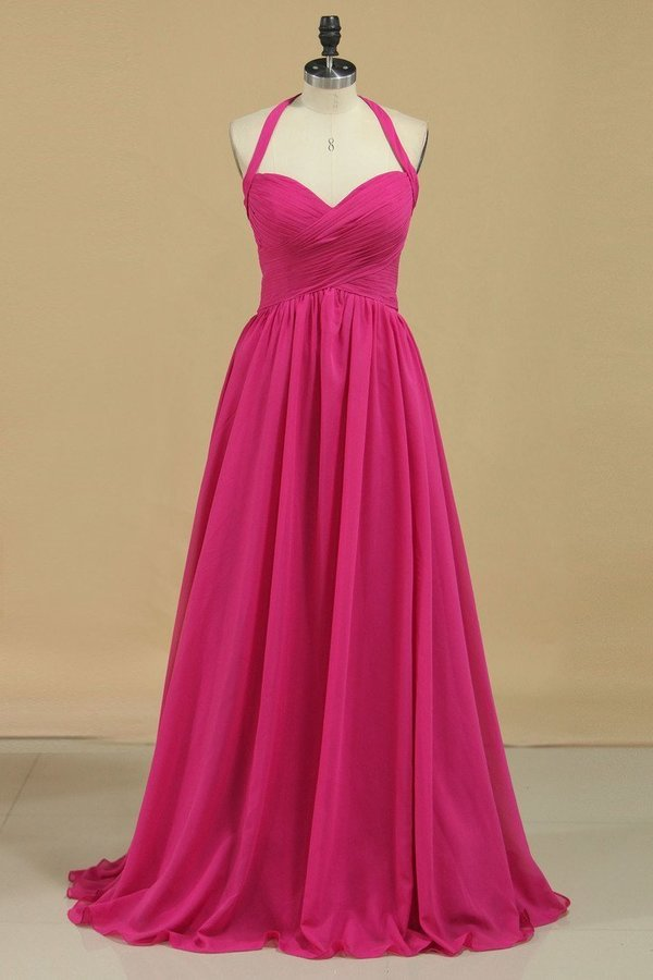 Chiffon Bridesmaid Dresses A Line Halter With Ruffles PBQ8MZ8G