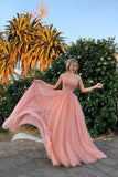 Elegant A Line Tulle Pink V Neck Beads Prom Dresses, Long Evening STI20477