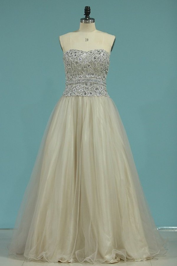 Sweetheart Tulle With Beading Prom Dresses Floor P3T4KKFH