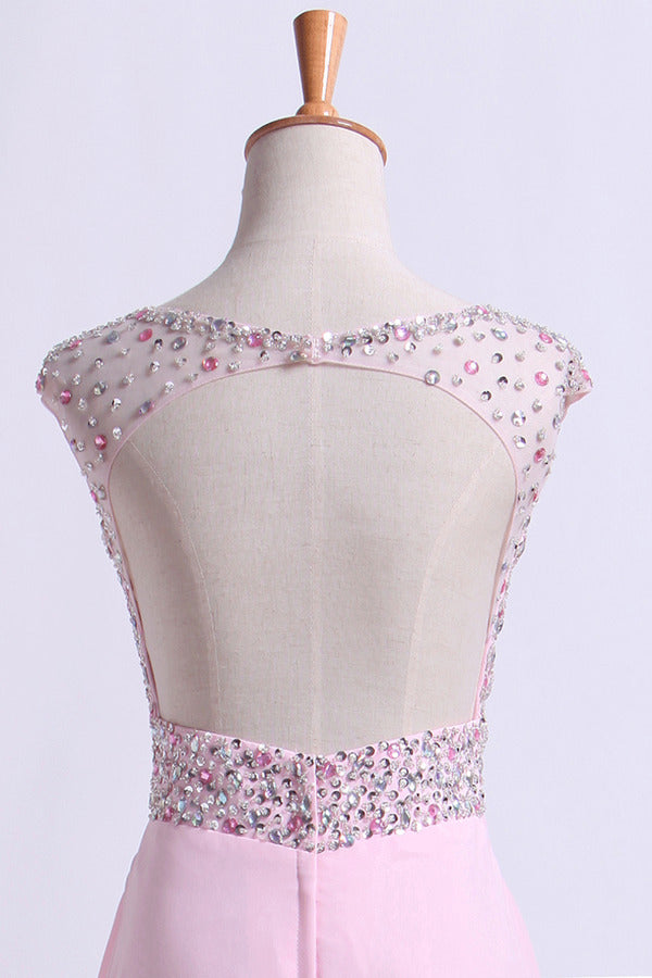 Scoop Neckline Beaded Bodice A Line Open Back With Chiffon Skirt PB6QH8QF