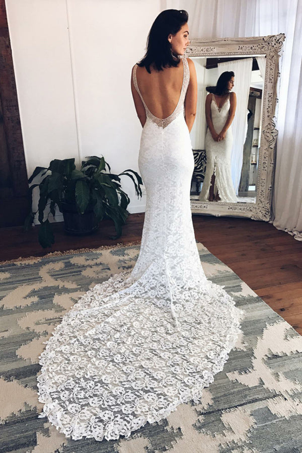 V-Neck Open Back Sheath Ivory Lace Long Wedding Dresses P8T866M9