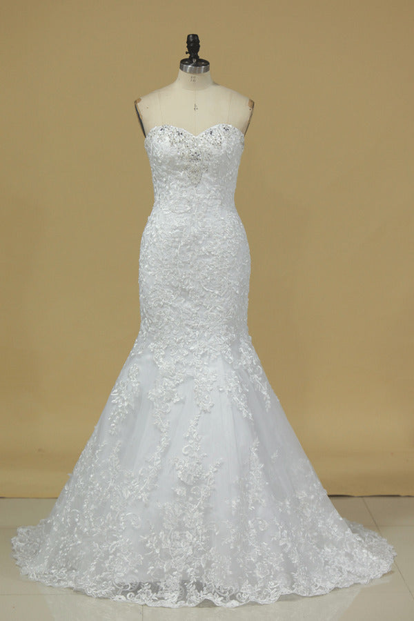 Sweetheart Wedding Dresses Mermaid Tulle With Applique And Beads PMNP2AKC