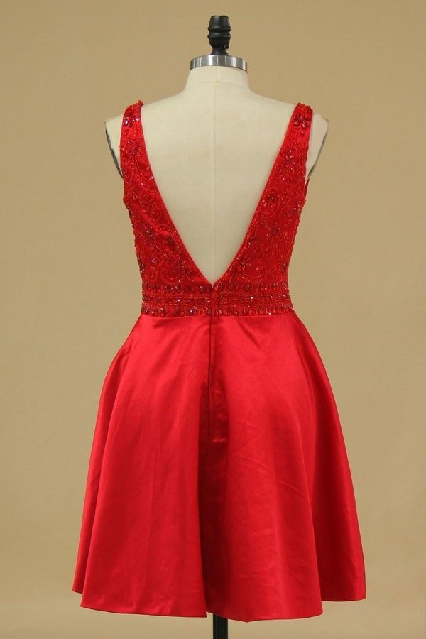 V Neck A Line Homecoming Dresses With Beading Above PTJTE76Q