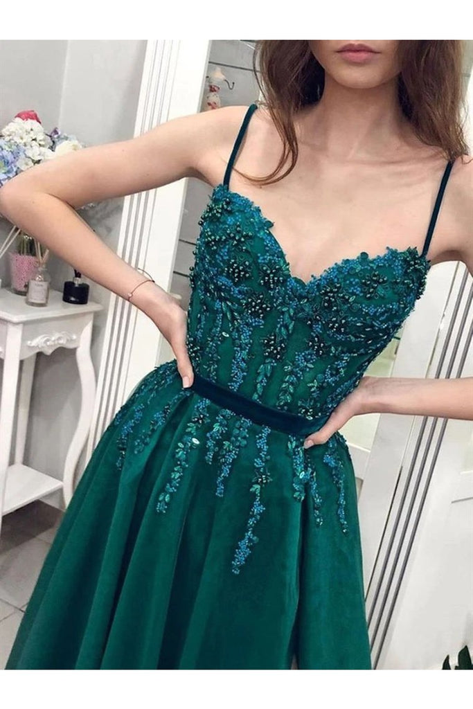 Charming A Line Tulle Spaghetti Straps Beading Prom Dresses Evening STIP6CP4ZJB