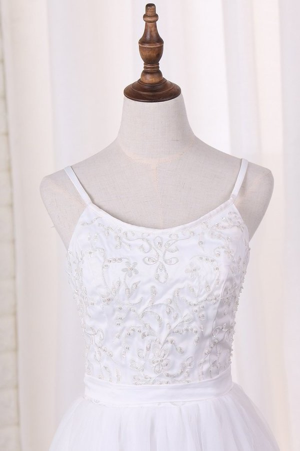 Spaghetti Straps A Line Bridesmaid Dresses Tulle With PQZGF59X