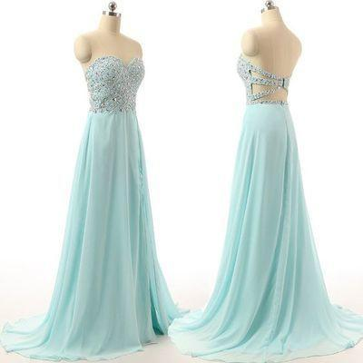 Long Charming Blue Strapless Sleeveless A-Line Sweetheart Prom Dresses