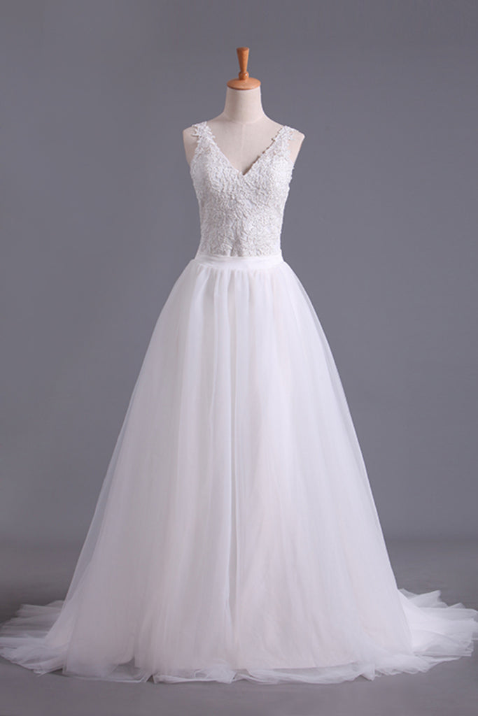 New Arrival Spaghetti Straps Wedding Dresses Sheath Lace & Tulle With Applique Court Train STIPRX2EKZH