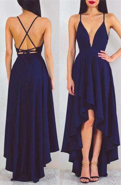 Sexy A-line Deep V-neck High Low Dark Navy Blue Chiffon Prom Dress Evening