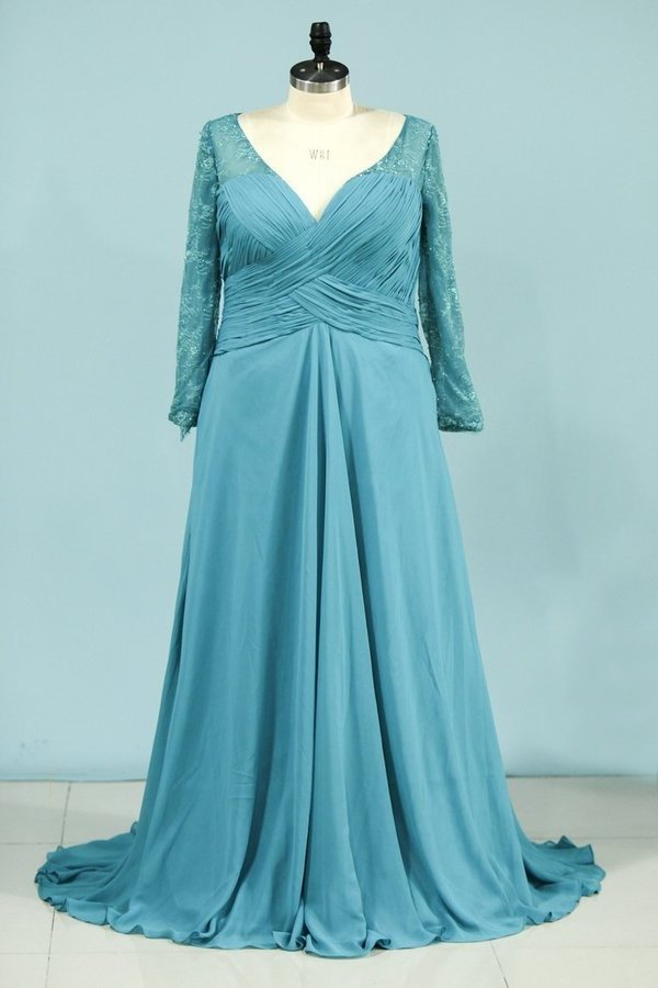 A Line V Neck Mother Of The Bride Dresses Chiffon With Beads P57Q4X5Y