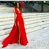 Sexy Slit Evening Dress V-neckline Red Split Slit Sexy Red Formal Dress Prom Dresses