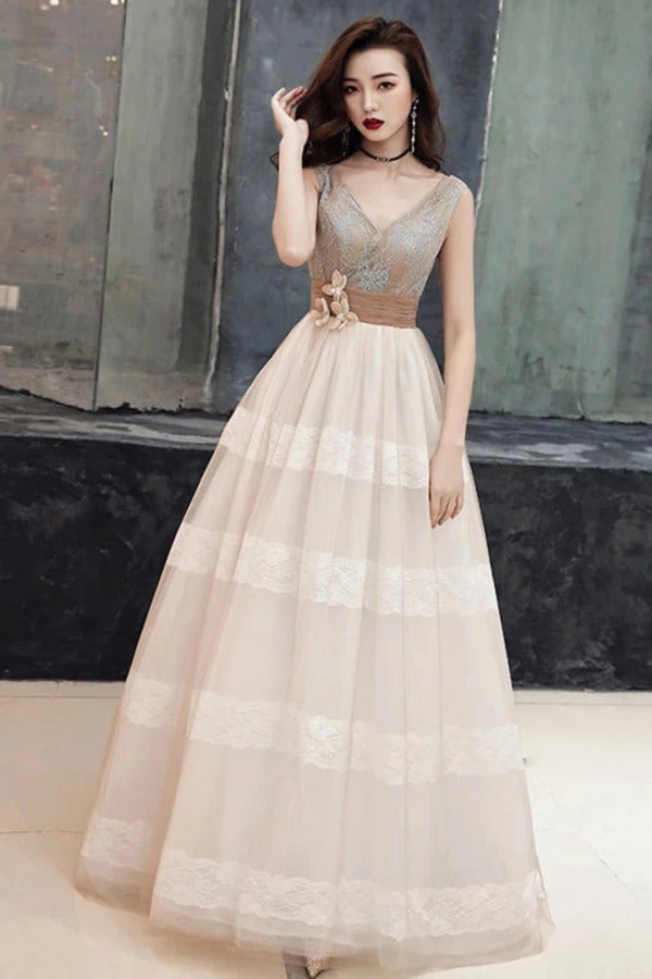 Unique V Neck Tulle Lace Long Prom Dress Tulle V Back Evening Dress PJJQQ744
