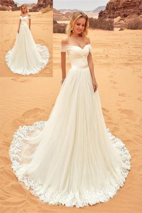Off The Shoulder Long Elegant Ivory Lace Tulle Wedding Dresses Beach PEPB9Y73