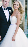 Sweep Train Spaghetti Straps Ivory Sweetheart Backless Beach Wedding Dresses