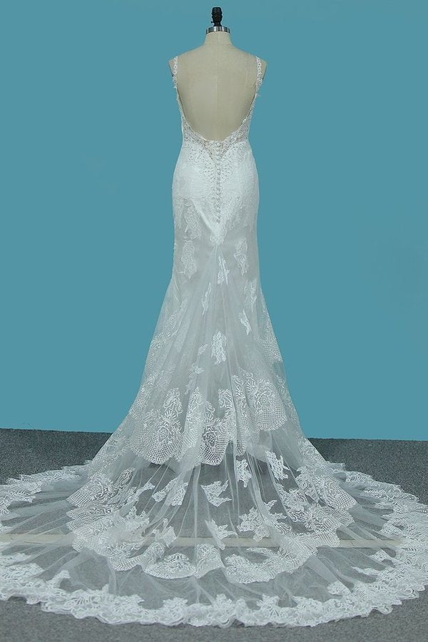 Spaghetti Straps Mermaid Wedding Dresses Tulle With PPFA6RY3