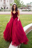 Strapless A-line Long V-Neck Tulle Burgundy Sleeveless Floor-Length Prom Dresses
