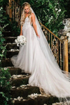 Elegant A Line Illusion Beads V Neck Tulle Long Backless Wedding Dresses Prom STIP8CG9KC9