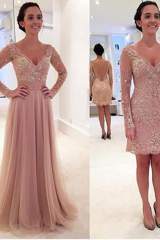 Long Sleeves V-neck Tulle Prom Dress with Detachable Train dusty pink sexy prom dress
