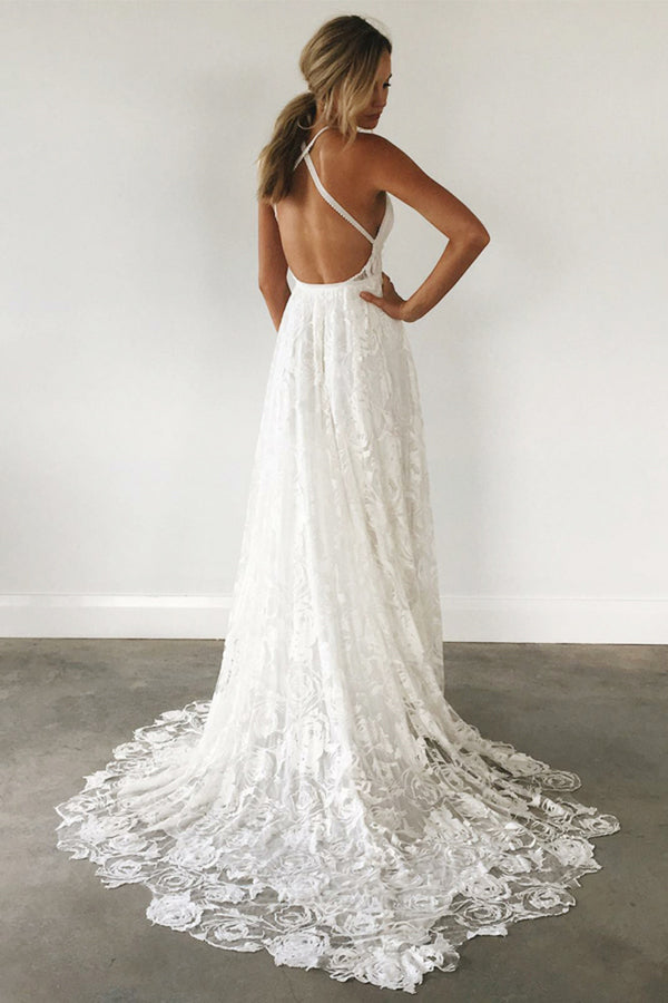 Spaghetti Straps Ivory Lace Open Back Long Wedding Dresses Elegant Beach PA61QQ15
