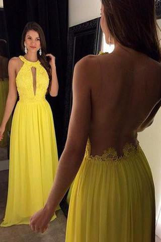 Yellow Elegant Long Beaded Chiffon Pageant Backless Prom