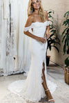 Off the Shoulder White Sweetheart Lace Sexy Mermaid Open Back Beach Wedding Dresses