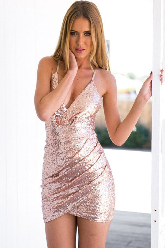 Mermaid Sheath Spaghetti Straps Short Pink Sequined Homecoming Dress with Hollow