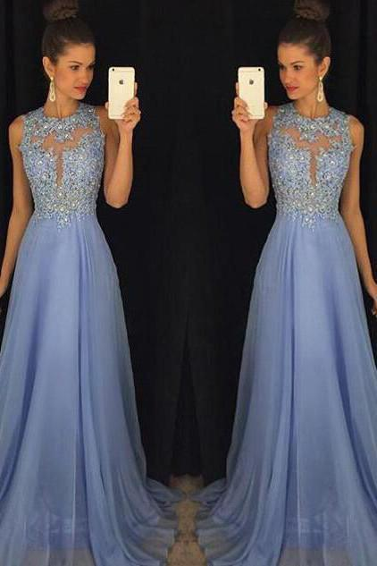Sky Blue A Line Prom Dresses Tulle Skirt Lace Bodice Prom Gowns