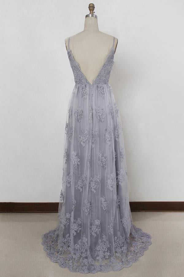 Sheath Spaghetti Straps Sweep Train Backless Lavender Tulle with Appliques Prom Dresses
