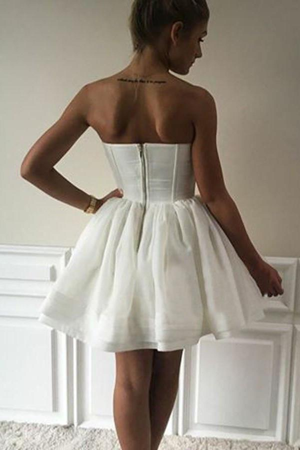 Mini Strapless Cute A-Line Sweetheart Ivory Short Open Back Homecoming Graduation Dress