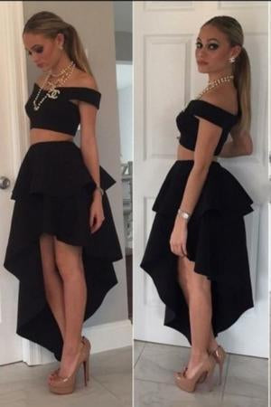 SexyTwo Pieces Modern Off the Shoulder A-Line Princess High Low Satin Homecoming Dresses
