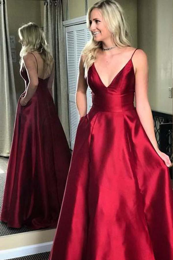 Simple Red V-Neck Spaghetti Straps A-line Long Backless Satin Prom Dresses