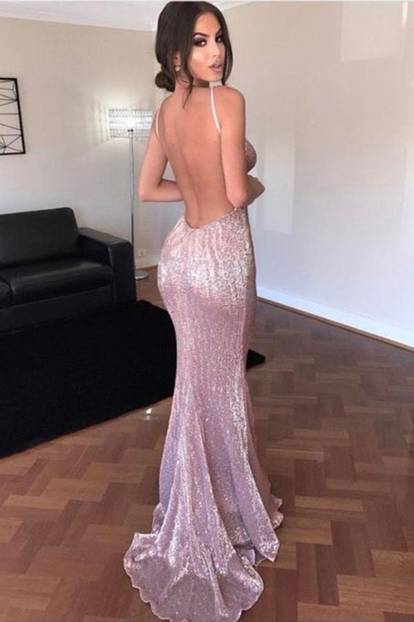 Elegant Mermaid Pink Simple Sexy Spaghetti Straps Sequin V Neck Backless Prom Dresses