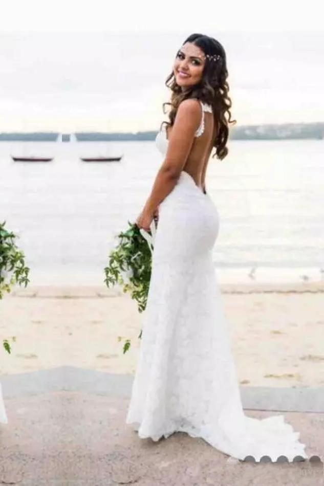 Sexy Lace Mermaid Spaghetti Straps V Neck Backless Beach Wedding Dresses