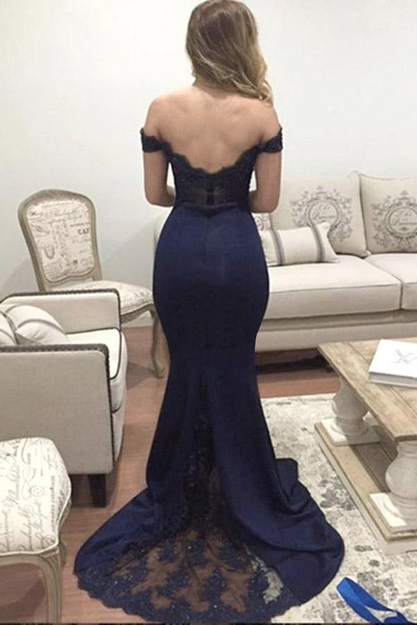 Mermaid Off-the-Shoulder Sweep Train Navy Blue Appliques Satin Prom Dresses