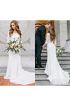 Vintage A Line Bohemian Lace Chiffon 3/4 Sleeve Scoop Wedding Gowns Bridal Dresses