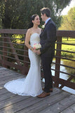 Mermaid Ivory Sweetheart Lace Wedding Dresses Long Strapless Bridal Dresses