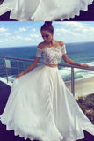 Two Pieces Off-the-Shoulder Ivory Short Sleeve A-Line Long Cheap Prom Dresses