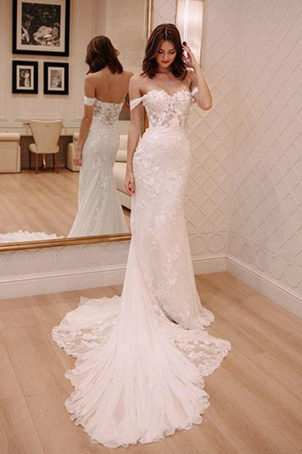 Sheath Off-the-Shoulder White Mermaid Chiffon Lace Appliques Beach Wedding Dresses