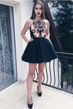 Stylish A-Line Halter Black Satin Short Graduation Dress Homecoming Dress