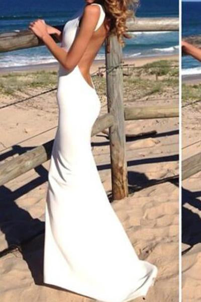 Sheath Backless Custom Made White Backless Mermaid Cheap Sexy Scoop Prom Dresses