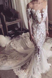 Illusion Neckline Lace Appliques Mermaid Long Sleeves Chapel Train Wedding Dress