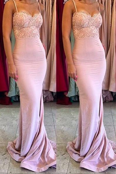 Stylish Mermaid Spaghetti Straps Satin Long Pink Bridesmaid Dresses with Lace Appliques