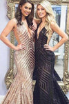 Sexy Deep V-Neck Rose Gold Sequins Mermaid Black Long Backless Prom Dresses