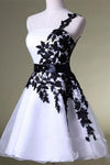 A Line One Shoulder White Homecoming Dress with Black Lace Knee Length Party Dress