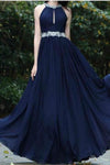 Sexy A-Line Beads Halter Cheap Royal Blue Simple Chiffon Backless Prom Dresses