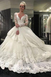 Long Sleeve V-neck Open Back Lace Ball Gown Wedding Dresses Bridal Dresses
