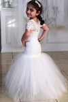 Long Short Sleeves Mermaid Lace Appliques Tulle Flower Girl Dress Wedding Party Dress